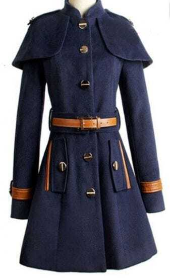 Navy Blue Long Sleeve Single Breasted with Capes Belt Outerwear