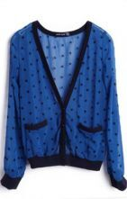 Blue Star Print Long Sleeve Pockets Contrast Hem Outerwear