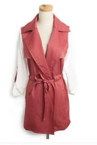 Red Notch Lapel Roll Sleeve Tie Front Pockets Coat