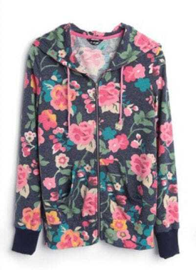 Blue Floral Print Hooded Zip Pockets Outerwear