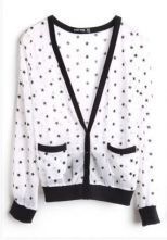 White Star Print Long Sleeve Pockets Contrast Hem Outerwear