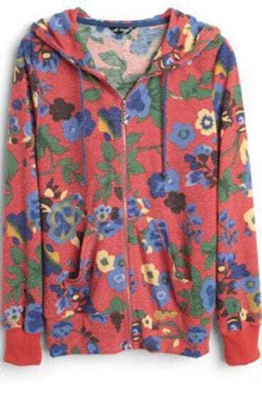Orange Floral Print Hooded Zip Pockets Outerwear