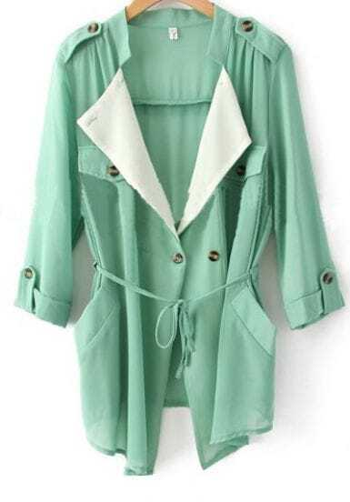 Green Chiffon Drape Collar Pockets Roll Sleeve Tie Front Coat