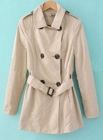 Khaki Notch Lapel Long Sleeve Double Breasted Belt Coat