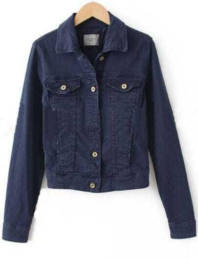 Navy Blue Denim Long Sleeve Pockets Single Breasted Coat