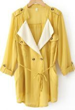 Yellow Chiffon Drape Collar Pockets Roll Sleeve Tie Front Coat