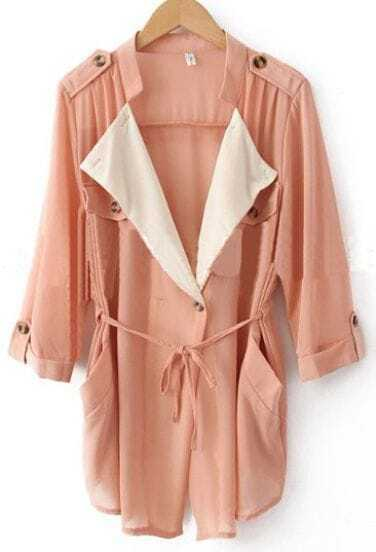 Pink Chiffon Drape Collar Pockets Roll Sleeve Tie Front Coat