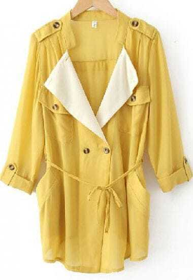 Yellow Chiffon Drape Collar Pockets Roll Sleeve Tie Front Coat