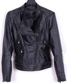 Black Leather Stand Collar Pockets Zip Jacket