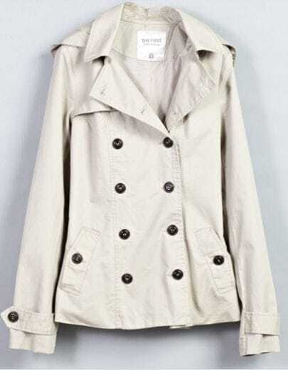 Beige Hooded Long Sleeve Double Breasted Pockets Belt Coat