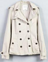 Beige Hooded Long Sleeve Double Breasted Pockets Belt Coat