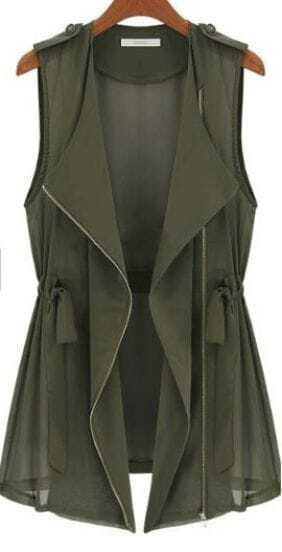 Green Drape Collar Sleeveless Zip Front Drawstring Waitcoat