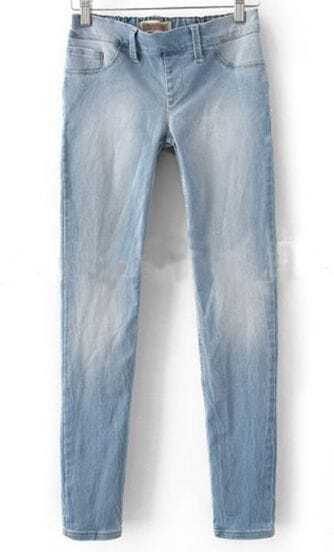 Light Blue Denim Zipper Fly Waist Skinny Pant