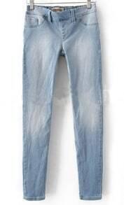 Light Blue Denim Zipper Fly Waist Skinny Pant