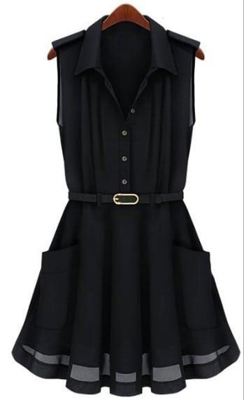 Black sleeveless pleated flare belted shirt dress shein for Black pleated dress shirt
