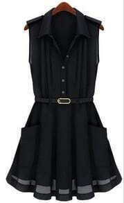 Black Sleeveless Pleated Flare Belted Shirt Dress