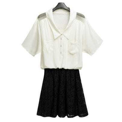 Beige Short Sleeve Contrast Lace Pleated Shirt Dress