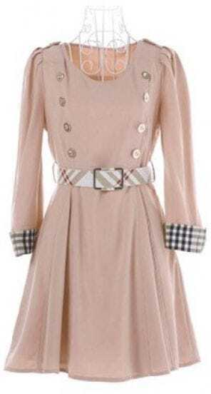 Nude Checked Cuffs Puff Sleeve Belted Military Flare Dress