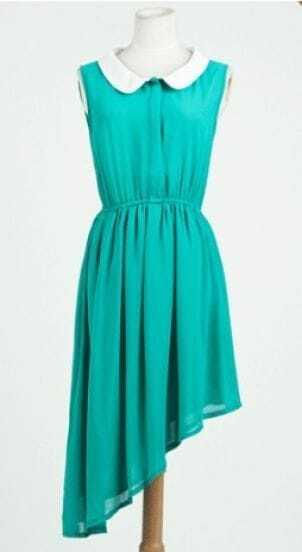 Green Peter Pan Collar Sleeveless Asymmetric Hem Shirt Dress