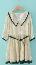 Beige Geo Print Half Sleeve Belted Pleated Dress