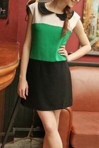 Green Contrast Black Peter Pan Collar Sleeveless Dress
