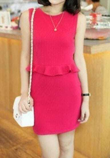 Rose Pink Sleeveless Pinstripe Peplum Short Dress