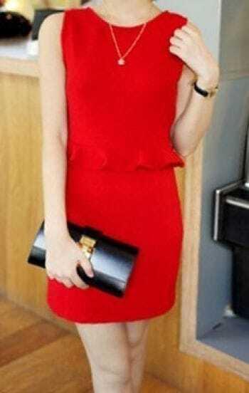 Red Sleeveless Pinstripe Peplum Short Dress