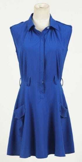 Royal Blue Sleeveless Shoulder Tabs Pockets Belted Dress