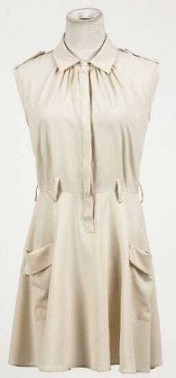 Beige Sleeveless Shoulder Tabs Pockets Belted Shirt Dress