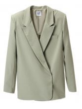 Light Green Notch Lapel Long Sleeve Boyfriend Blazer