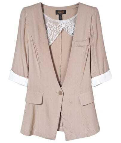 Khaki Collarless Short Sleeve One Button Blazer