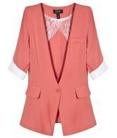 Orange Collarless Short Sleeve One Button Blazer
