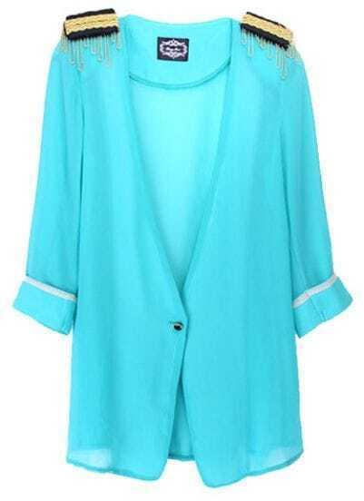 Turquoise Epaulet Chiffon One Button Half Sleeve Blazer