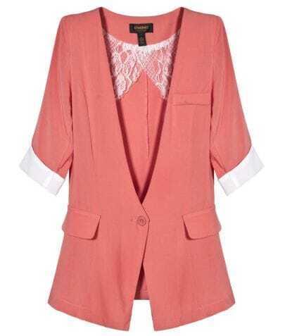 Orange Collarless Short Sleeve One Button Blazer