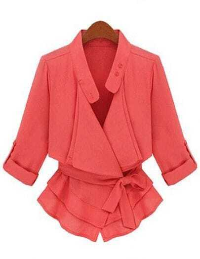 Coral Double Collar Rolled Sleeve Ruffle Hem Belt Blazer