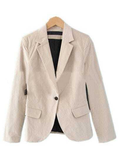 Light Khaki Grey Notch Lapel Curved Hem One Button Blazer
