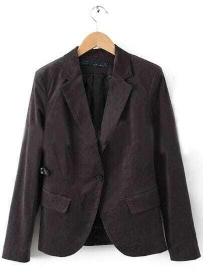 Dark Grey Notch Lapel Curved Hem One Button Blazer