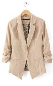 Khaki One Button Ruched Sleeve Tuxedo Blazer