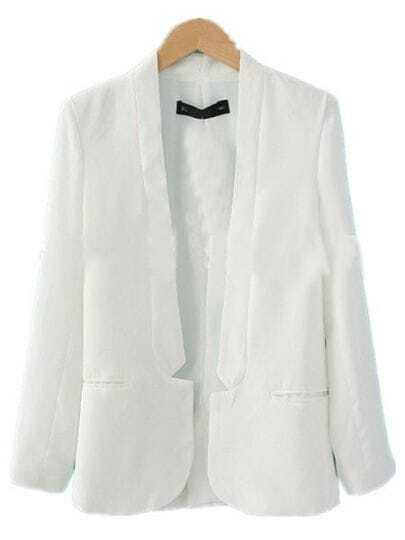 White Simple Curved Hem Long Sleeve Longline Blazer