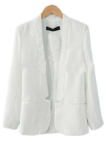 White Simple Curved Hem Long Sleeve Longline Blazer