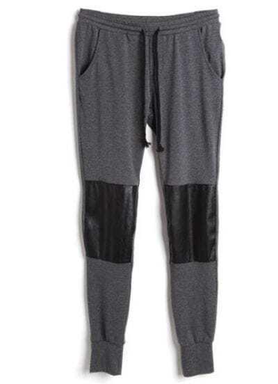 Dark Grey Leather Drawstring Waist Cotton Pant