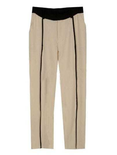Beige Street Mid Drawstring Waist Cotton Blends Pant