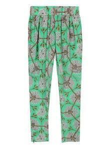 Green Vintage Floral High Elasic Waist Rivet Pant