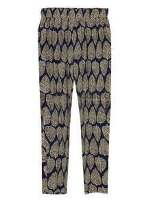 Black Vintage Leaves Print High Elasic Waist Rivet Pant