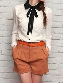 Beige Lapel Long Sleeve Single Breasted Lace Bow Chiffon Shirt