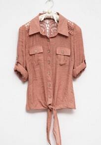 Nude Lapel Long Sleeve Single Breasted Hollow Pockets Shirt