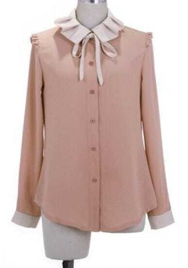 Pink Lapel Long Sleeve Single Breasted Bow Chiffon Shirt