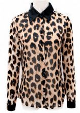 Leopard Lapel Long Sleeve Single Breasted Chiffon Shirt