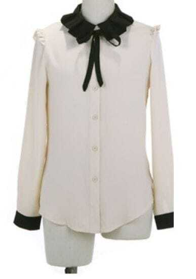 Beige Lapel Long Sleeve Single Breasted Bow Chiffon Shirt
