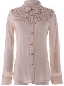 Beige Lapel Long Sleeve Single Breasted Lace Cotton Shirt